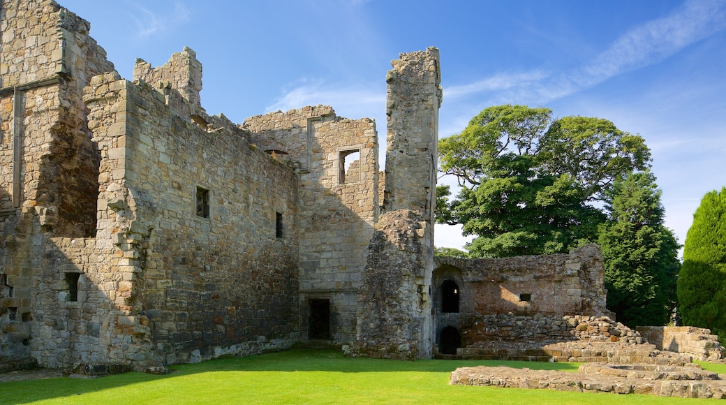 Aberdour Castle featuring building ruins, a castle and heritage elements