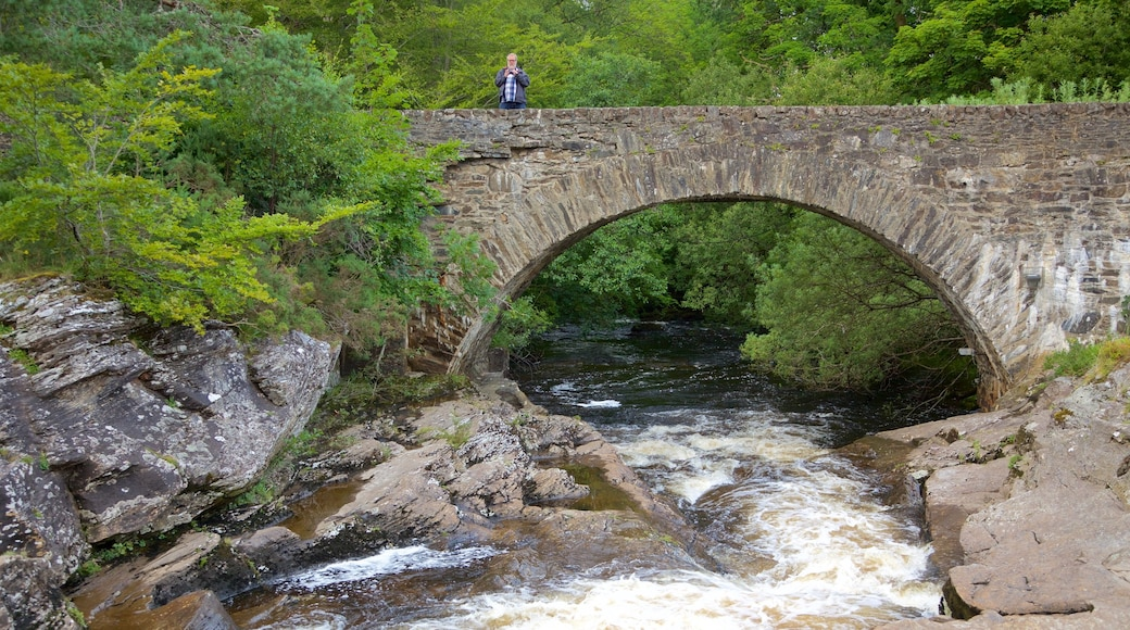 Falls of Dochart showing a bridge, a river or creek and heritage elements