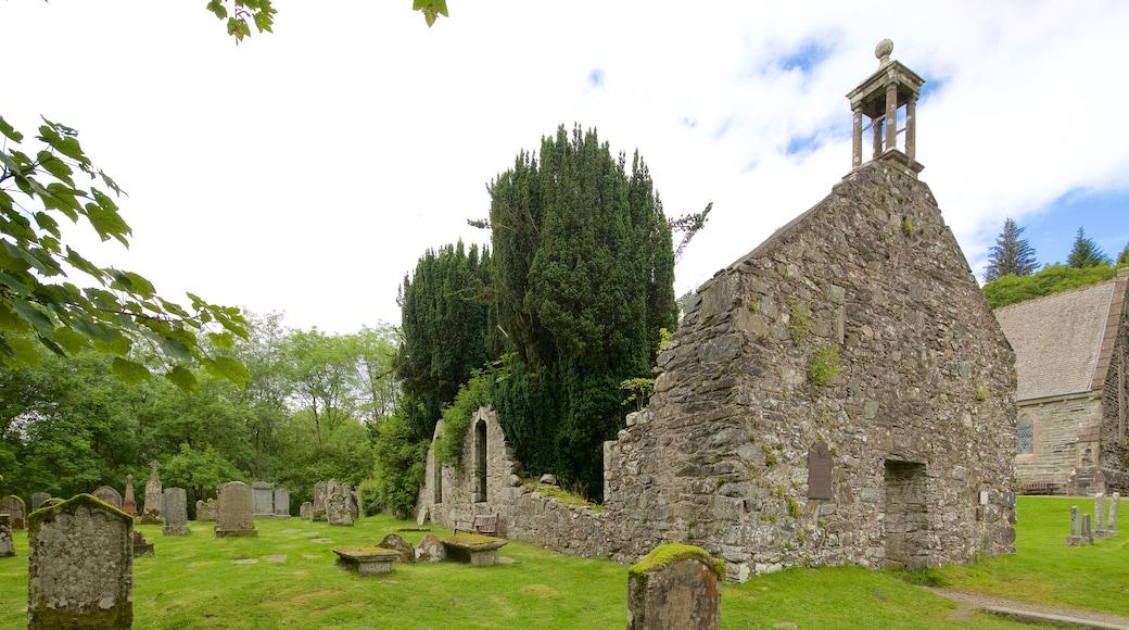 Balquhidder Church featuring building ruins, a cemetery and a church or cathedral