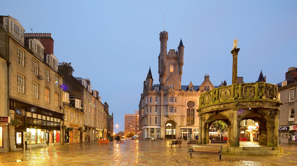 Aberdeen featuring a square or plaza, night scenes and a city