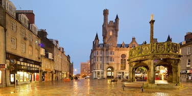 Aberdeen showing night scenes, a city and a square or plaza