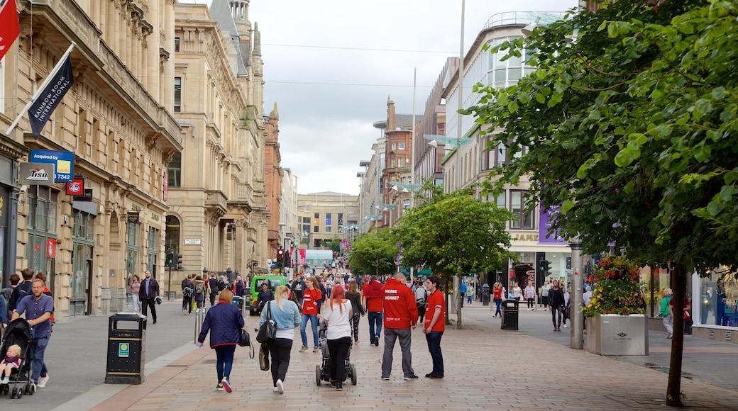 Buchanan Street showing street scenes as well as a large group of people