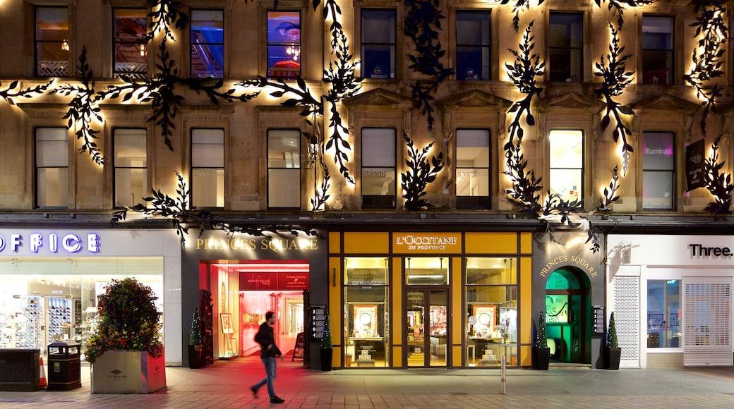 Buchanan Street featuring street scenes and night scenes