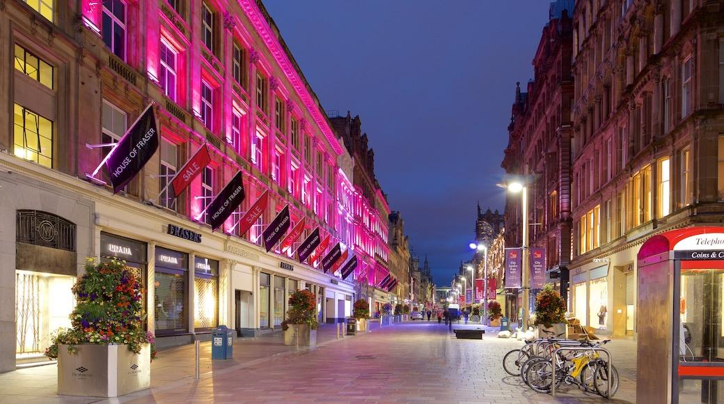 Buchanan Street featuring night scenes and street scenes