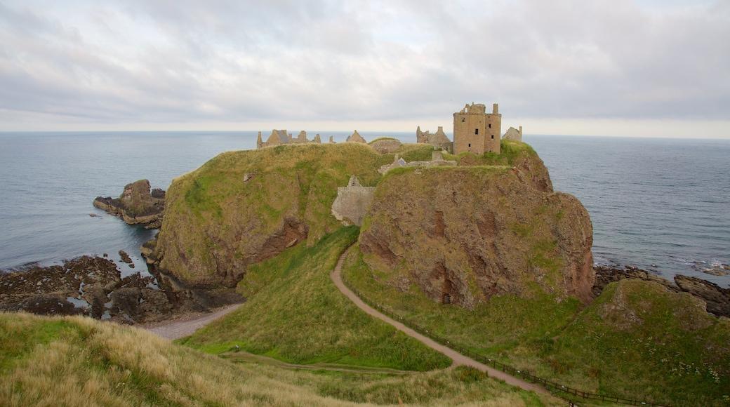Dunnottar Castle showing general coastal views, farmland and a castle