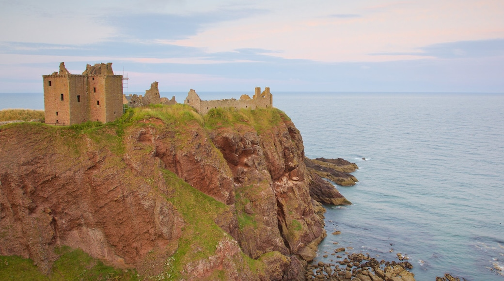 Dunnottar Castle featuring general coastal views and château or palace