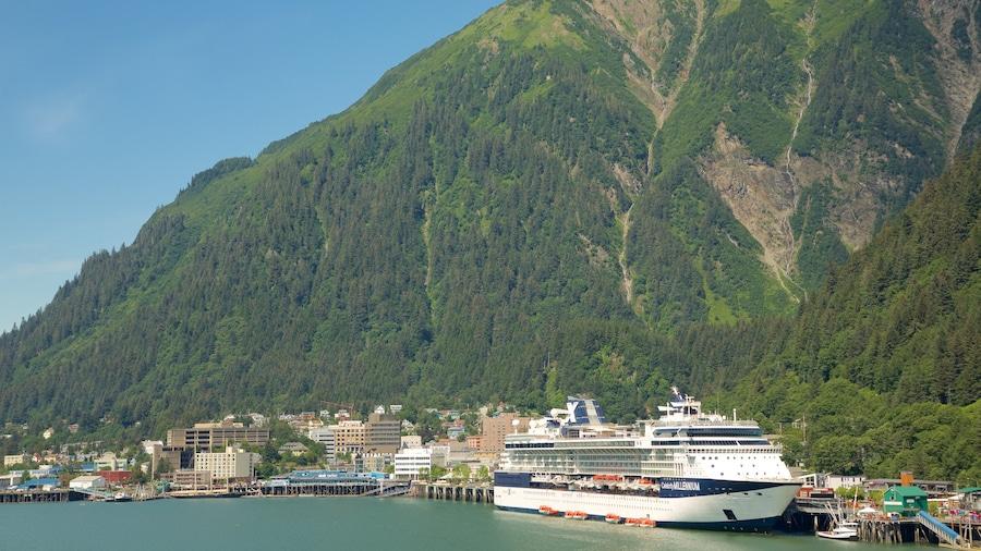 Juneau mettant en vedette ville côtière, montagnes et vues littorales