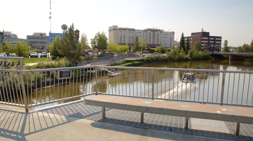 Fairbanks showing a river or creek and boating