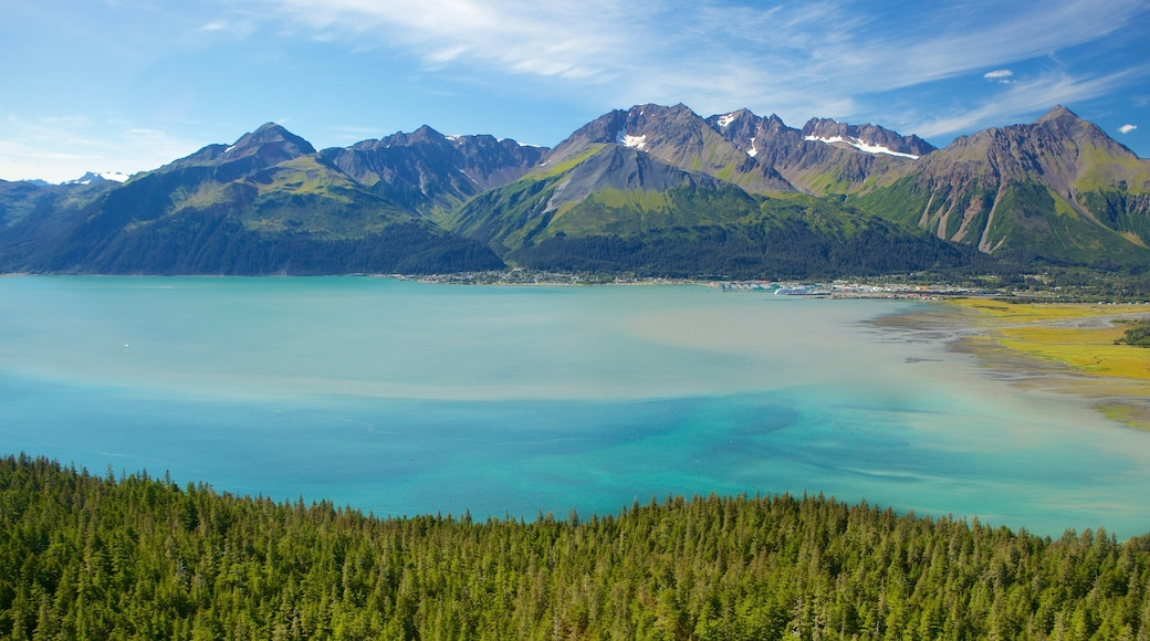 Seward which includes forest scenes, a river or creek and mountains