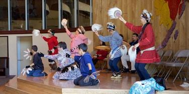 Alaska Native Heritage Center featuring performance art and interior views