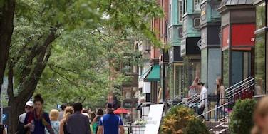 Back Bay som omfatter gadeliv og en by såvel som en stor gruppe mennesker