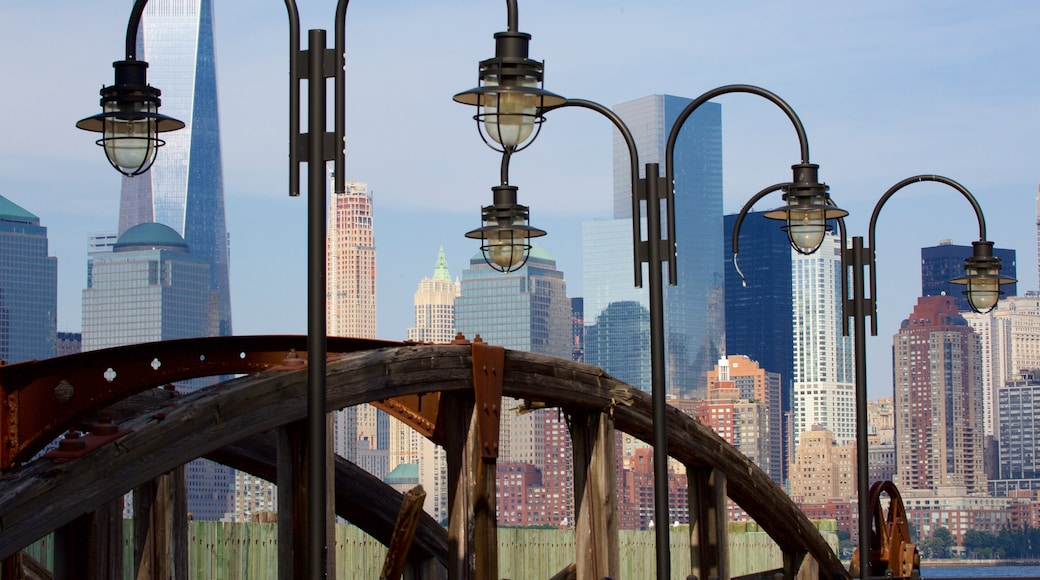 Liberty State Park showing a bridge, a city and heritage elements