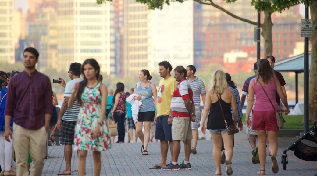 Hoboken Waterfront as well as a large group of people
