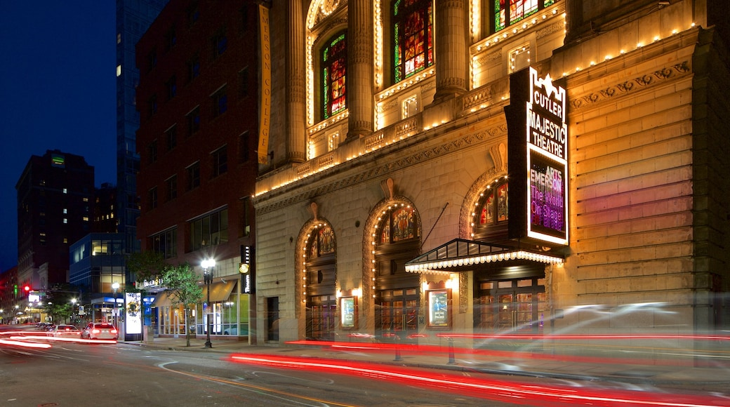劇院區 呈现出 指示牌 和 夜景