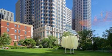 Distrito financiero de Boston mostrando un parque y una ciudad