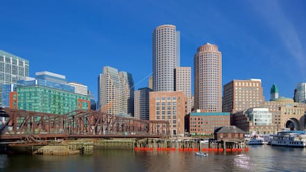 Seaport District which includes a city, a river or creek and a high rise building