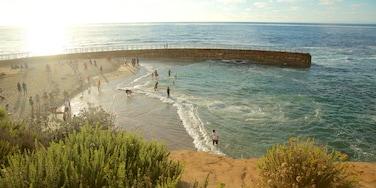 La Jolla ofreciendo vistas generales de la costa, natación y una playa