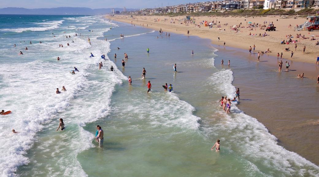 Manhattan Beach ofreciendo natación y una playa de arena y también un gran grupo de personas