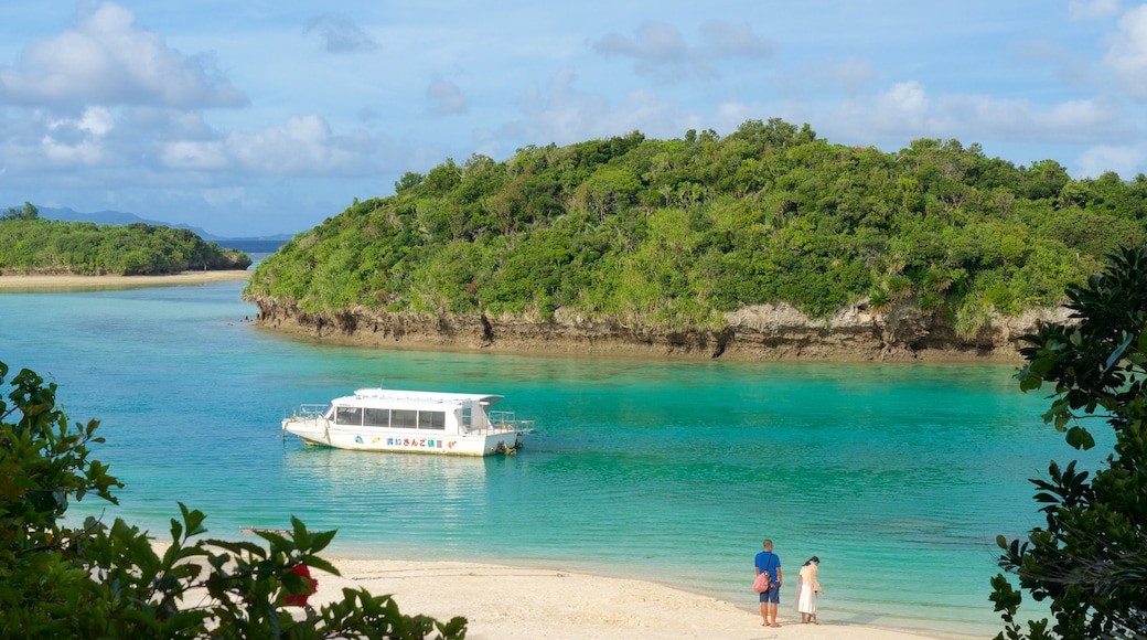 Okinawa showing a beach and boating