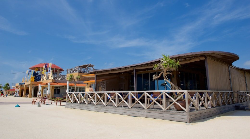 Okinawa featuring cafe lifestyle and a coastal town