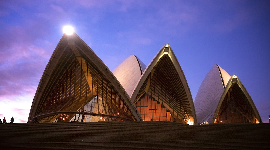 Sydney Opera House showing night scenes, a city and modern architecture