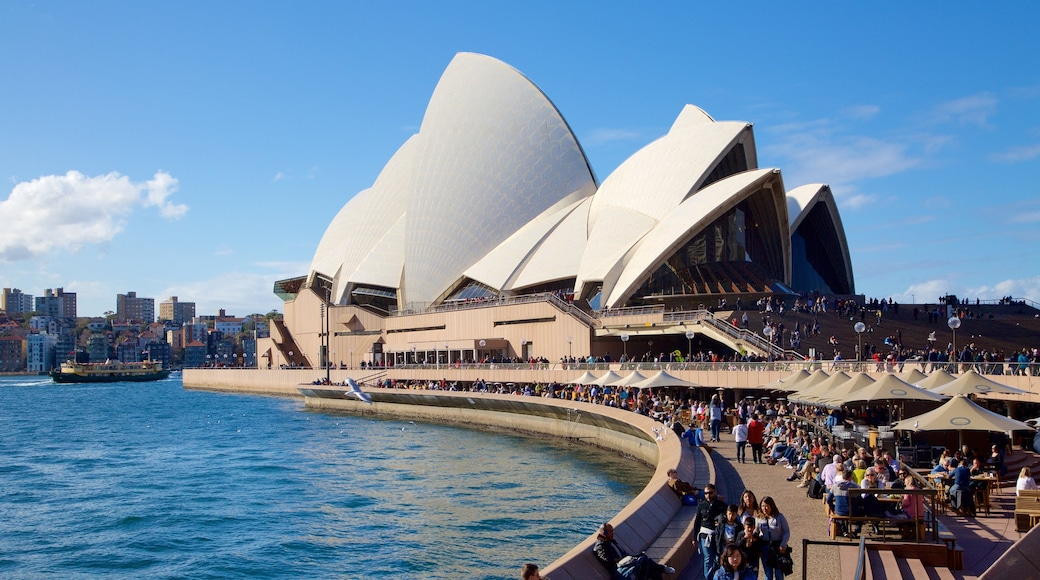 Sydney Opera House which includes cbd, a square or plaza and modern architecture