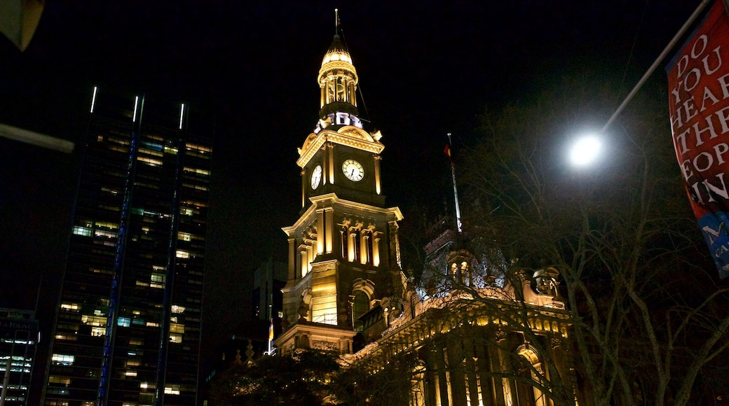 Sydney Town Hall featuring night scenes and a city