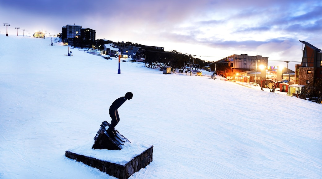 Mt. Buller Ski Slopes which includes a small town or village, snow and night scenes