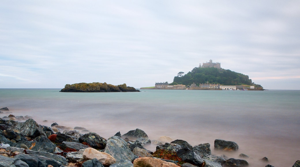 St. Michael\'s Mount which includes island images and general coastal views