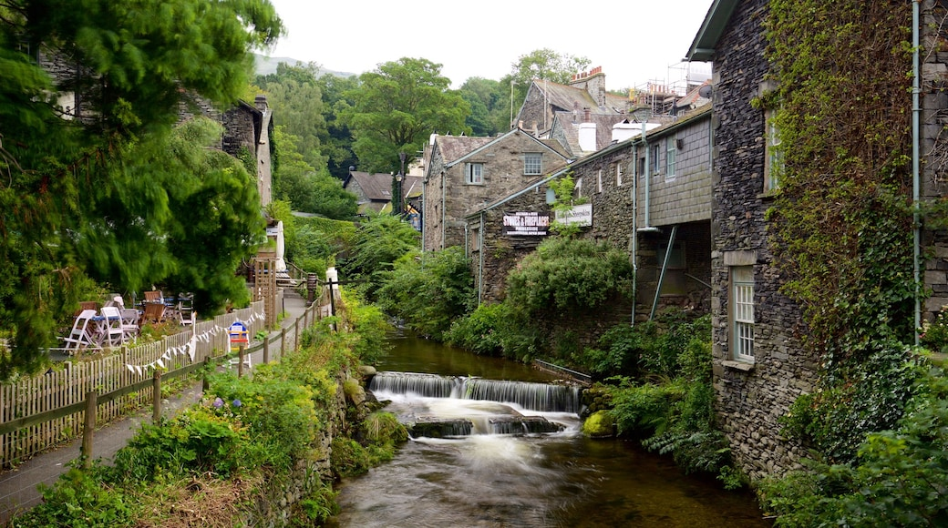 Ambleside featuring heritage architecture, a river or creek and a small town or village
