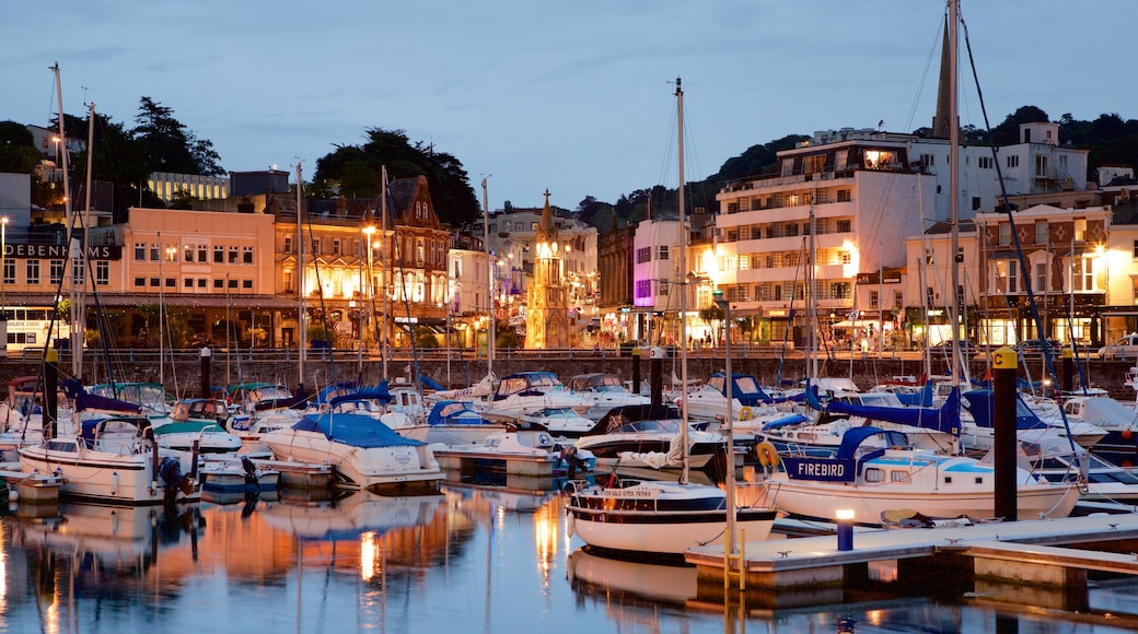 Torquay showing a marina, night scenes and boating