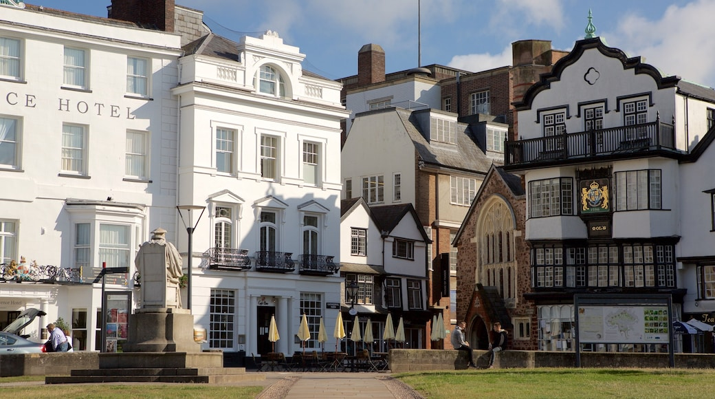 Exeter which includes a small town or village and heritage architecture