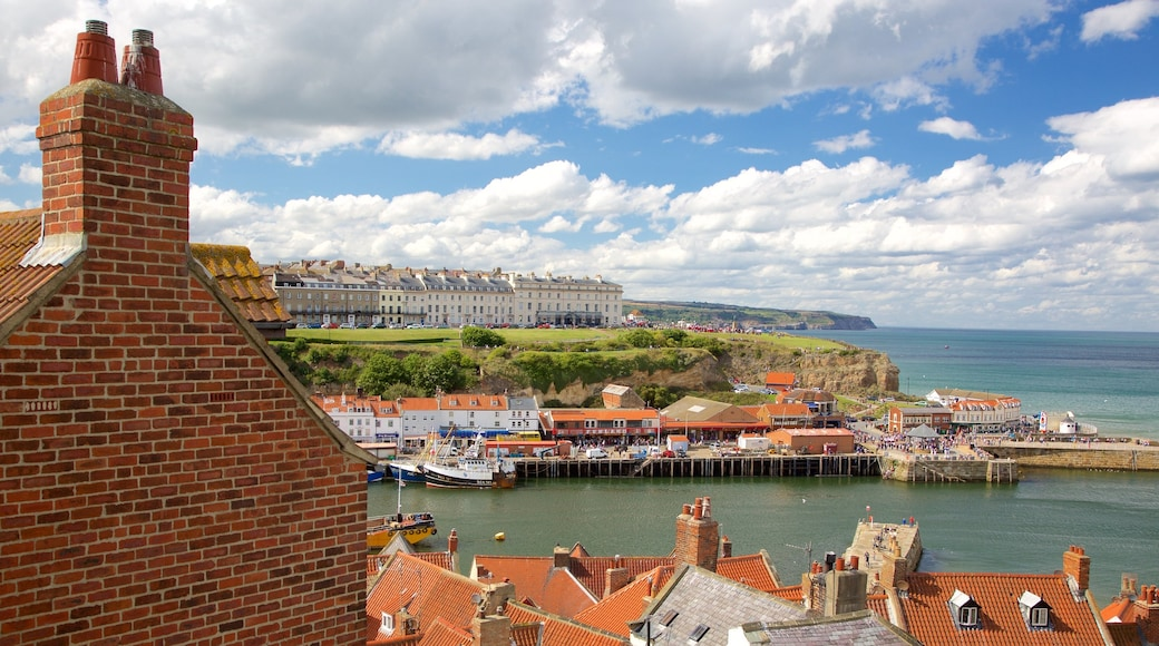 Whitby showing general coastal views, boating and a small town or village