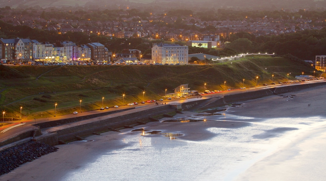 North Bay Beach showing a beach, landscape views and night scenes