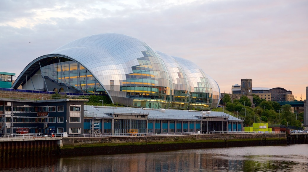 Sage Gateshead featuring a river or creek, a city and modern architecture