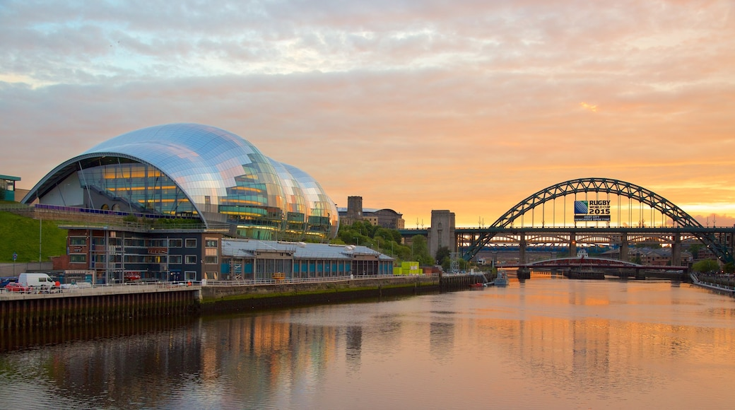 Newcastle-upon-Tyne featuring a sunset, a river or creek and a bridge