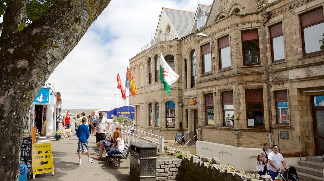 Newquay featuring heritage architecture, a coastal town and shopping