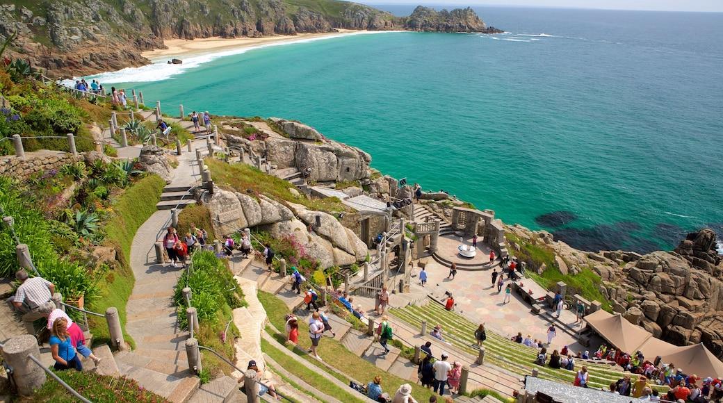 Minack Theatre featuring general coastal views, a coastal town and rocky coastline
