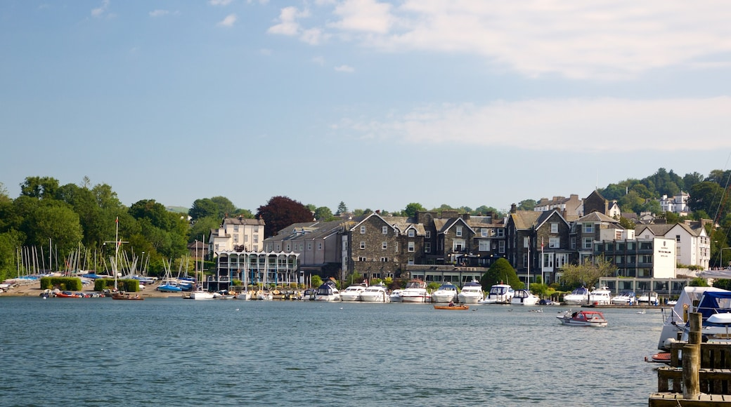 Bowness-on-Windermere which includes a lake or waterhole, a small town or village and a marina