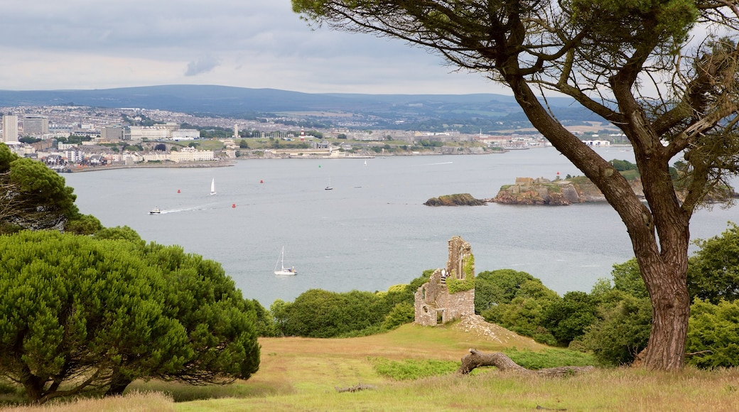 Mt. Edgcumbe showing boating and a coastal town