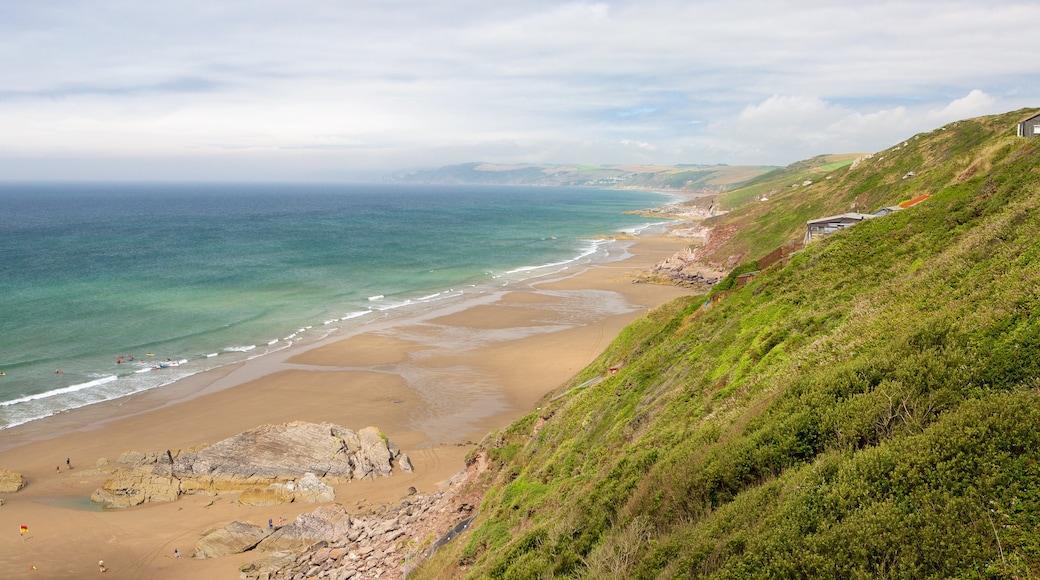 Plage de Whitsand Bay montrant panoramas et plage de sable