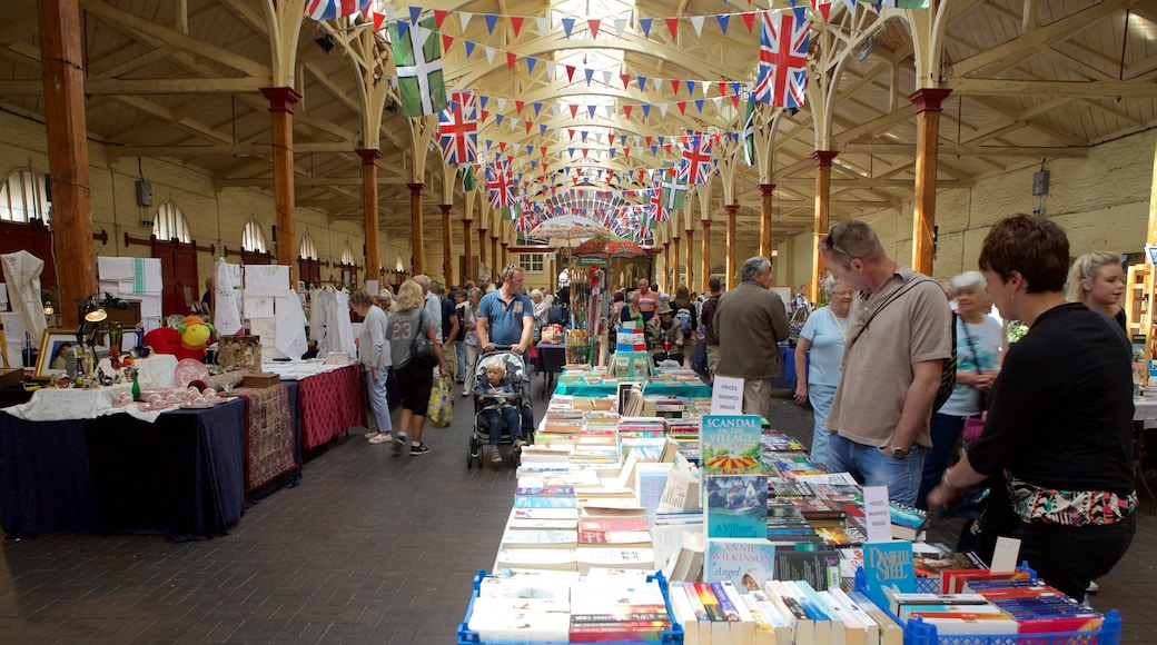 Pannier Market which includes interior views and markets as well as a large group of people