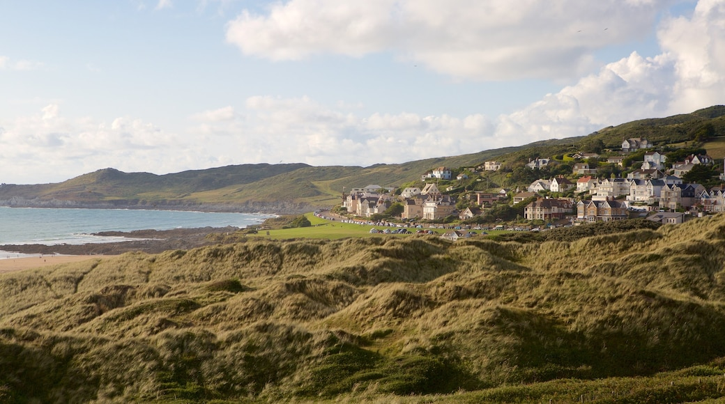 Woolacombe showing tranquil scenes, general coastal views and a coastal town
