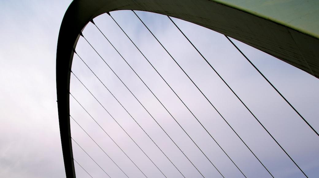 Gateshead Millennium Bridge showing modern architecture and a bridge