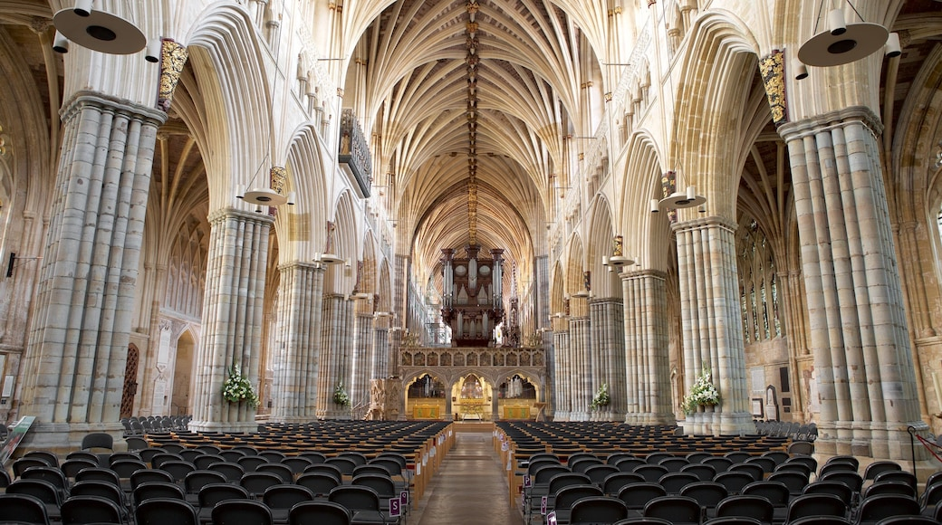Exeter Cathedral featuring heritage architecture, religious elements and a church or cathedral