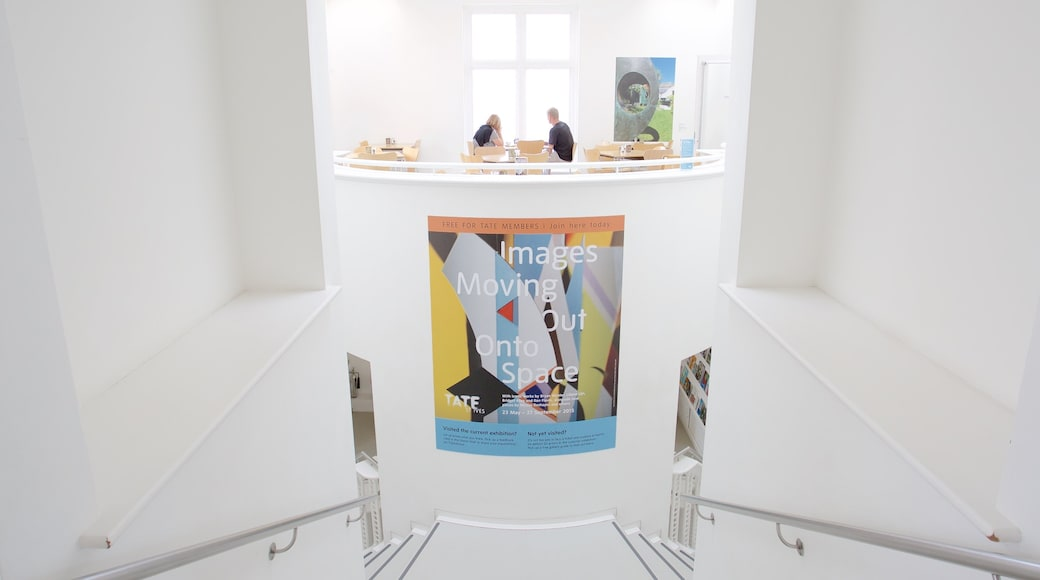 Tate St. Ives which includes interior views and signage