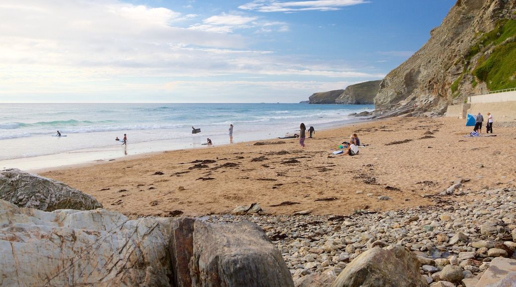 Watergate Bay which includes rocky coastline and a beach