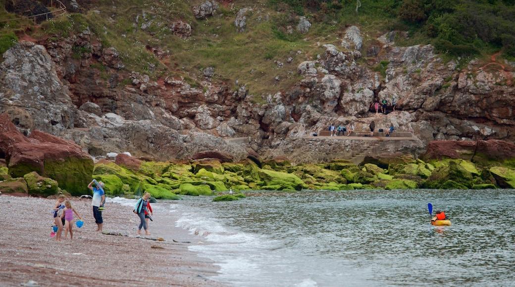 Babbacombe Beach featuring a sandy beach and general coastal views as well as children