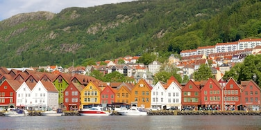 Bryggen featuring a small town or village, boating and rugged coastline