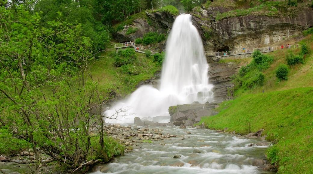 Bergen inclusief een rivier of beek en een waterval